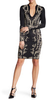 Wow Couture V-Neck Long Sleeve Pattern Dress
