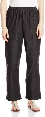 Alfred Dunner Women's Petite Black Denim Proportioned Short Pant