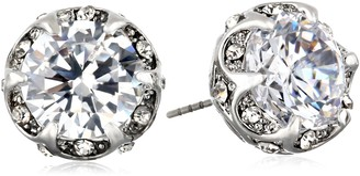 Betsey Johnson Women's CZ Crystal Ruffled Halo Stud Earrings Crystal/Silver Stud Earrings