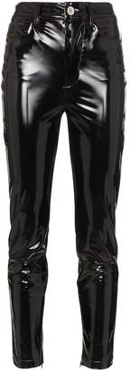 Unravel Project high waisted skinny latex jeans