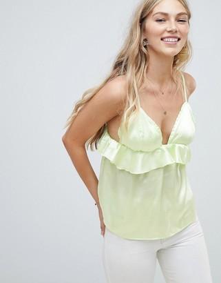 Vero Moda Ruffle Cami Top-Green