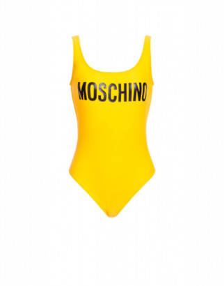 Moschino One-piece Swimsuit With Logo Woman Yellow Size 38 It - (2 Us)