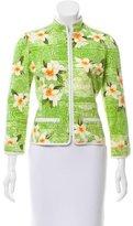 Oscar de la Renta Floral Print Zip-Up Jacket
