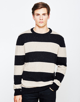YMC Beat Generation Alpaca Stripe Jumper Black