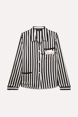 Amanda Fatherazi Morgan Lane Mini Mask Ruthie Appliquéd Striped Silk-charmeuse Pajama Top - Black