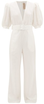 Adriana Degreas Puff-sleeve Belted Crepe Jumpsuit - White