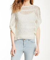 Sisters White Boatneck Cape-Sleeve Top