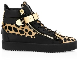 Giuseppe Zanotti Animal Print Calf-Hair Double Bar High-Top Sneakers