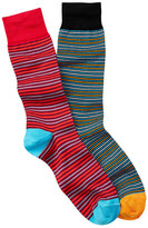 Jared Lang Thin Striped Crew Sock - Pack of 2