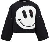 Raf Simons Smiley-intarsia Cropped Wool Sweater - Womens - Black