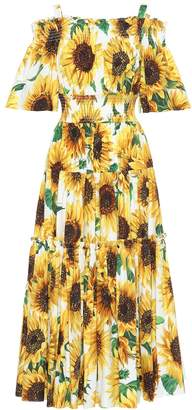 Dolce & Gabbana Sunflower-print cotton midi dress
