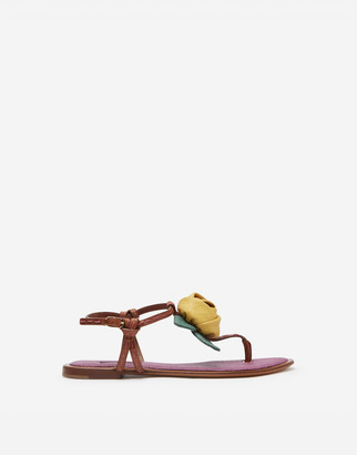 Dolce & Gabbana Flip Flops In Polished Cowhide With Rose Applique