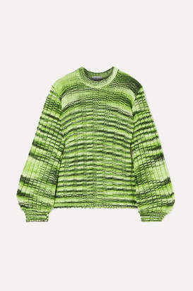 Ganni Neon Melange Ribbed-knit Sweater - Green