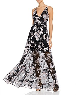 Avery G Floral Embroidered Illusion Gown