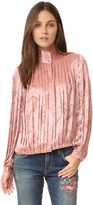 Alice + Olivia Halina Pleated High Neck Blouse