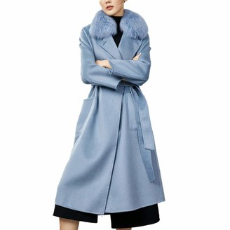 Lssing Ladies Winter Double-Sided Wool Velvet Coat with White Fox Fur Collar and Belt Windproof and Warm Windbreaker Elegant