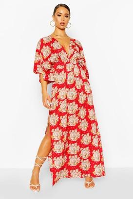 boohoo Paisley Kimono Sleeve Plunge Split Maxi Dress
