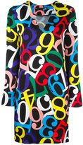 Love Moschino number print V-neck dress