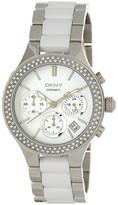 DKNY Women&s Crystal Chronograph Ceramic Bracelet Watch