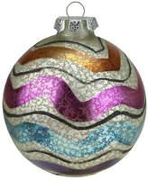 Asstd National Brand 4.5 Merry & Bright White Mercury Glass Striped Christmas Ball Ornament
