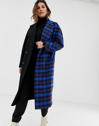 Helene Berman contrast check duster coat