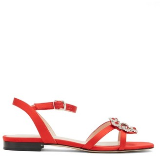 Christopher Kane Crystal-embellished Satin And Leather Sandals - Red