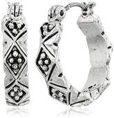 Napier Silver-Tone Small Click-It Hoop Earrings