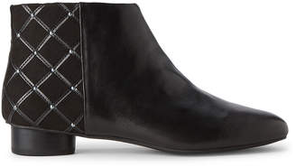 Karl Lagerfeld Paris Black Fauna Leather Ankle Boots