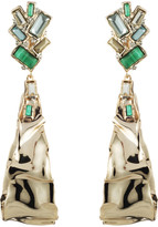 Alexis Bittar Crumpled Gold Stone Cluster Dangling Clip Earring