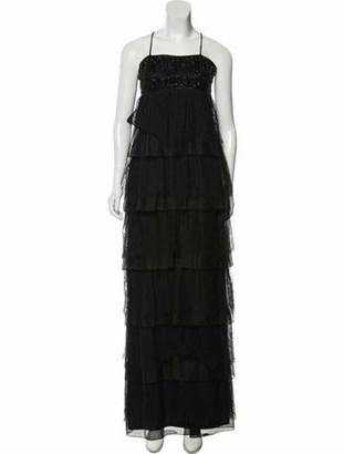 Marchesa Silk Evening Gown Black
