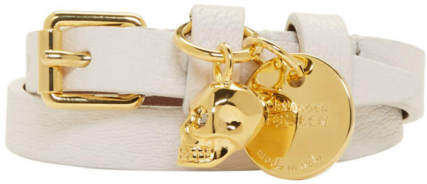Alexander McQueen Off-White and Gold Skull Double Wrap Bracelet