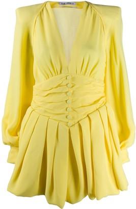 The Attico Pleated Plunge Mini Dress
