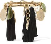 Oscar de la Renta Gold-plated, tasseled silk, faux pearl and stone bracelet