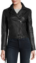 Haute Hippie Fringe-Trim Lace-Back Leather Jacket, Black