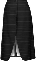Thom Browne Wrap-effect striped wool, cotton and silk-blend jacquard skirt