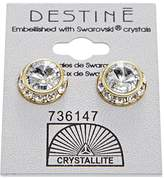 Crystallite Crystal with Gold Rhinestone Rivoli Earrings