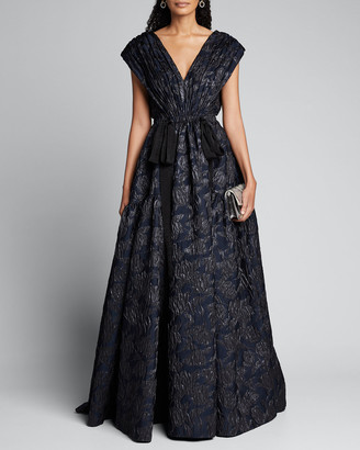 Jason Wu Collection Tulip Cloque Bow-Waist Gown