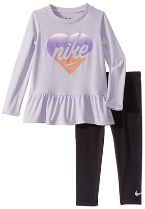Nike Kids Long Sleeve Peplum Top and Leggings Two-Piece Set (Toddler) (Black) Girl's Active Sets