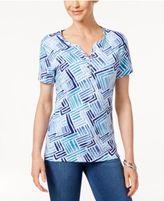 Karen Scott Petite Printed Henley Top, Only at Macy's