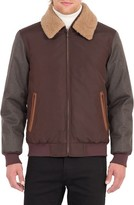 Rainforest Men's Waxed Nylon Jacket With Faux Shearling Collar