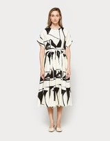 Black Crane Pleated Dress in Print C