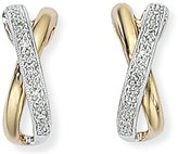 Jewelco London Ladies Wite Yellow Metal Pave Diamond X Kiss Drop Earrings 4 x 13mm
