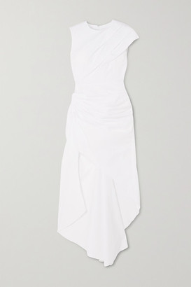 16Arlington Aster Asymmetric Ruched Cotton-poplin Dress - White