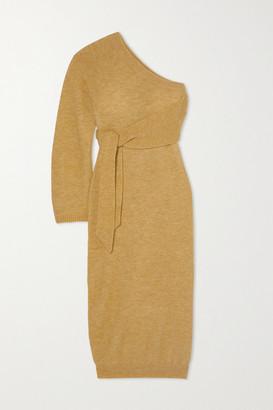 Nanushka Cedro One-sleeve Tie-detailed Stretch-knit Midi Dress - Yellow