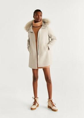 MANGO Faux fur hooded coat light/pastel grey - L - Women