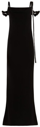 Loewe Leather-trimmed Panelled Crepe Dress - Womens - Black