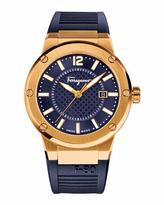 Salvatore Ferragamo F-80 Gold Ion-Plated Watch, Blue