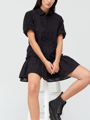Missguided Broderie Ruffle Shirt Smock Dress - Black