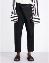 Haider Ackermann Asymmetric Dropped-crotch Fleece-wool Trousers