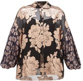 Biyan Syalendra Metallic Floral Silk-chiffon Blouse - Womens - Black Navy